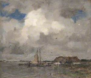 River Scene with a Storm Cloud