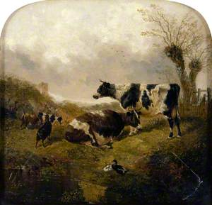 Two Cows with Goats and Ducks in a Landscape