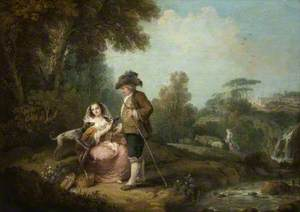 A Pastoral Landscape with Figures by a Stream