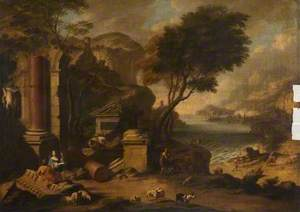 A Mountainous Coastal Landscape with Classical Ruins and Shepherds