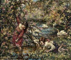 Two Girls and Swans at a Pool