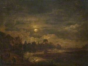 A Village and Marshland by Moonlight