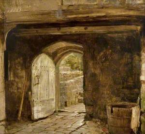 Sketch of a Doorway with a Water Barrel