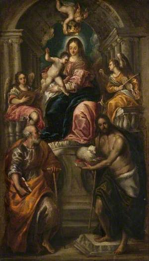 Madonna and Child Enthroned with Saints Peter and John the Baptist and Angels