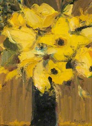 Yellow Flowers in a Black Jug