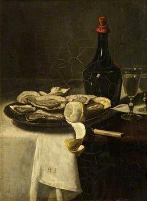Still Life with Oysters, a Wine Bottle and a Glass of Wine