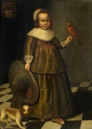 Portrait of a Boy, Aged Three, with a Large Hat and a Parrot