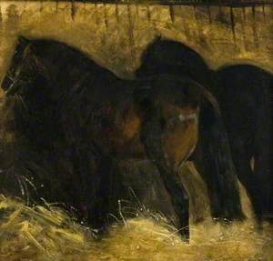 Two Brown Horses in a Stall