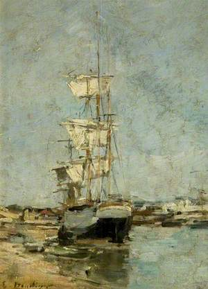 Large Sailing Ship in Port, Deauville