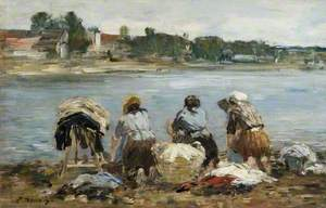 Washerwomen on the Banks of the River Touques