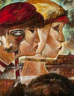 Two Profiles of Girls and a Mask