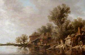 Cottages and Fishermen by a River