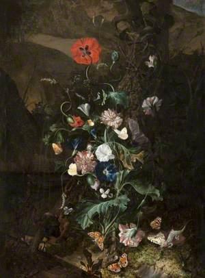 An Arrangement of Flowers by a Tree Trunk