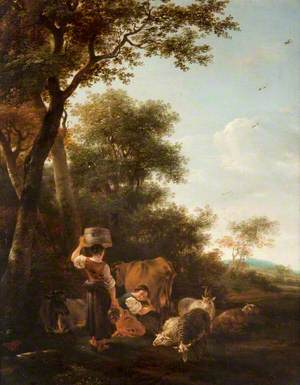 Milkmaids and Cattle by a Spinney