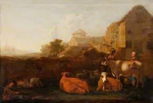 Landscape with Cattle and Figures