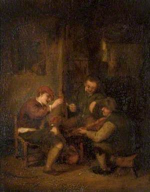 Interior with Three Roistering Peasants