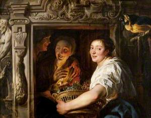 A Maidservant with a Basket of Fruit and Two Lovers
