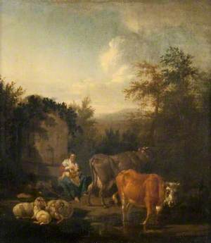 A Woman and a Child, Cattle and Sheep by a Fountain