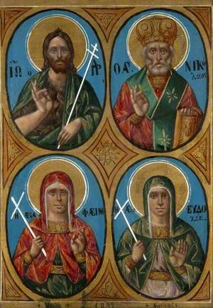 Saint John the Baptist, Saint Nikolaos, Saint Phæina and Saint Eudoxia