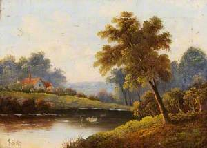 Landscape with Trees, a Pond and a Cottage