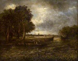 Landscape with Barges on a River
