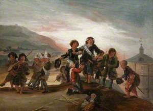 Boys Playing at Soldiers