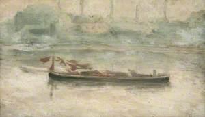Barges Anchored off Battersea Bridge