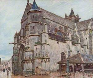 L'église de Moret-sur-Loing, temps de pluie le matin (The Church of Moret-sur-Loing, Rainy Morning Weather)