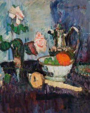Still Life with Roses in a Vase and Fruits in a Bowl