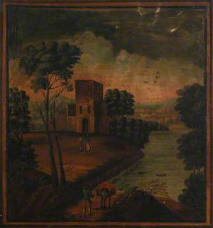 Screen: River Landscape with a Tower House