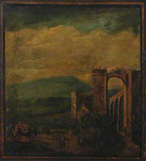 Screen: Landscape with a Building and Arches