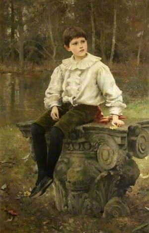 Edmund Antrobus (1887–1914), as a Boy in the Grounds of Amesbury Abbey, Wiltshire