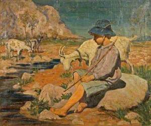 A Boy with Three Goats