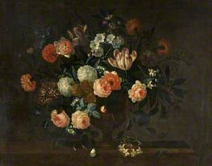 A Vase of Flowers and Insects