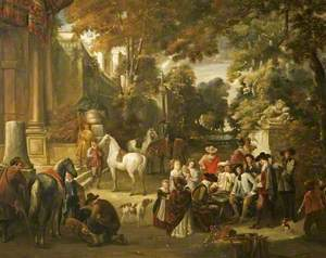 Fête champêtre: Cavaliers and Women round a Gaming Board
