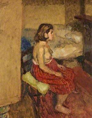A Model in a Red Skirt, Seated