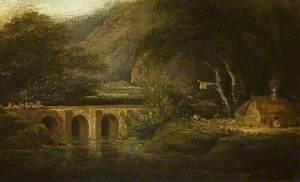 Mountainous Landscape with a Bridge and an Inn