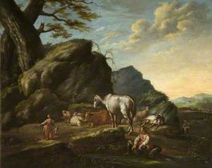 Landscape with Cattle, Goats and Figures