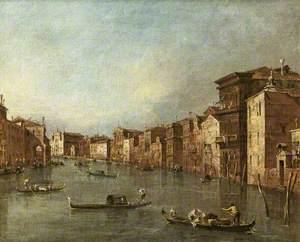 The Grand Canal, Venice, Italy, Looking towards Santa Maria degli Scalzi and Santa Lucia