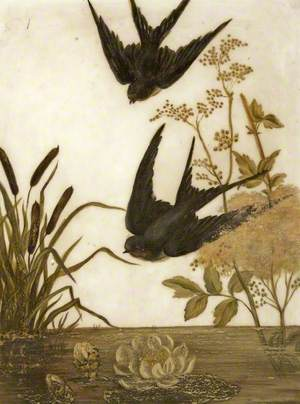 Two Swallows Above a Pond