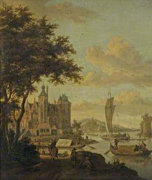 Dutch Beach Scene with Shipping