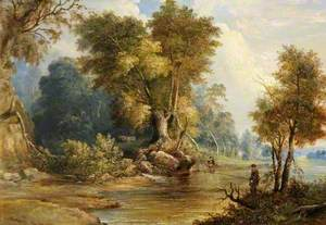 River Scene with Anglers, the Leadon, Gloucestershire