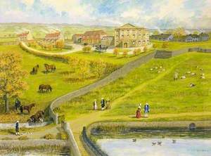 Reconstruction of William Champion's Site at Warmley, Gloucestershire, Warmley House and Echo Pond with Horses