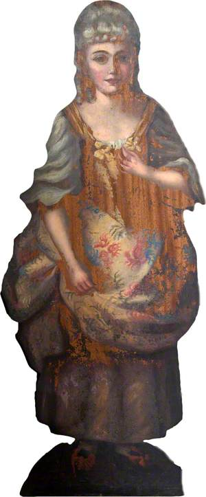 Wooden Companion Piece in the Form of a Girl with a Flower Basket
