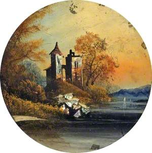 'Roses and Castle Styles' Painting (A Castle beside a Lake with Mountains in the Background)