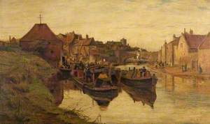 Boating Scene on the Regent's Canal with Narrow Boats and a Lighter
