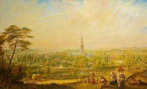 View of Salisbury from Harnham Hill, Wiltshire, with Harvesters in the Foreground