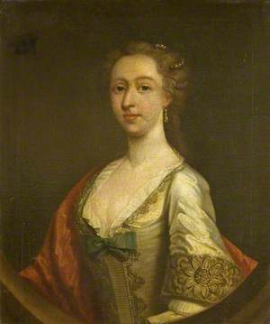 Mary Blackmore (1729–1746), in a White Embroidered Satin Dress and a Red Shawl