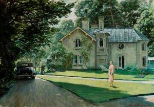 View of Daye House with Edith Olivier (1872–1948), Standing on the Lawn