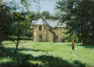 Daye House, Wilton Park, Wiltshire, from the Riverside, with Edith Olivier (1872–1948), Standing